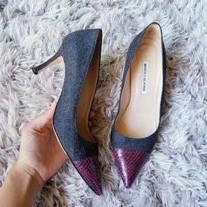 Gorgeous Manolo Blahnik Suede and Snakeskin Heels